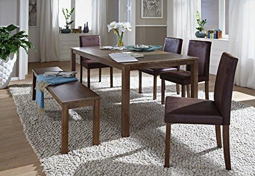 SAM® 6tlg Tischgruppe, 140 cm, nussbaumfarbig, Antik-Look, Sitzgruppe bestehend aus 1 x Esstisch, 4 x Polsterstuhl, 1 x Sitzbank [521027]