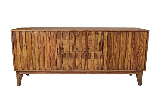 Sideboard Retro Plasma Mid Century Massivholz Sheesham Lowboard Strukturierte Front