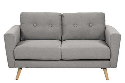 sofa 2 sitzer 137 x 87 x 80 polstersofa wohnzimmer stoff couch grau skandinavisches design. Black Bedroom Furniture Sets. Home Design Ideas