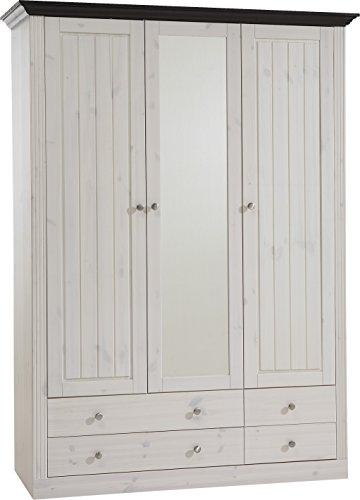 Steens 31711213 Kleiderschrank Monaco 201.5 x 145 x 60 cm in Kiefer massive, weiß und dunkelbraun