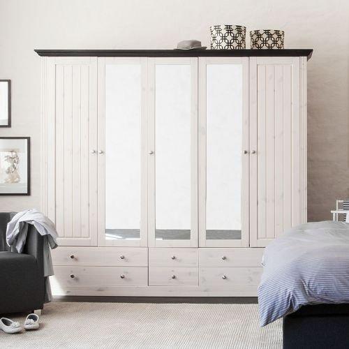 Steens 31711513 Kleiderschrank Monaco 201.5 x 228 x 60 cm in Kiefer massive,weiß und dunkelbraun