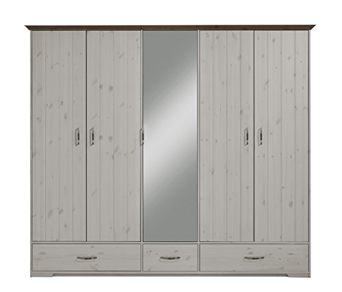 Steens Group Hanstholm Kleiderschrank 5 türig, Kiefer massiv weiß lasiert, grau abgesetzt