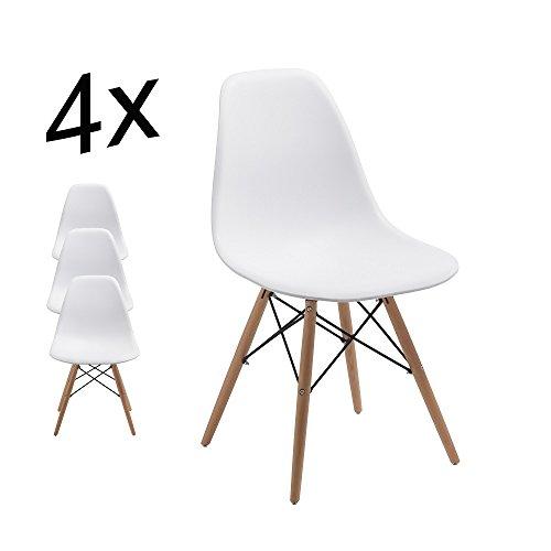 Stuhl Esszimmerstühle Küchenstühle !4 er Set! Art. DH0450 in WEISS Küchenstuhl mit Holzbeine Esszimmerstuhl RETRO LOOK