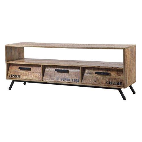TV-Lowboard TV-Board Romsdal, Retro Vintage Design, Massivholz Mangoholz Natur, Breite 140 cm, Tiefe 40 cm, Höhe 52 cm