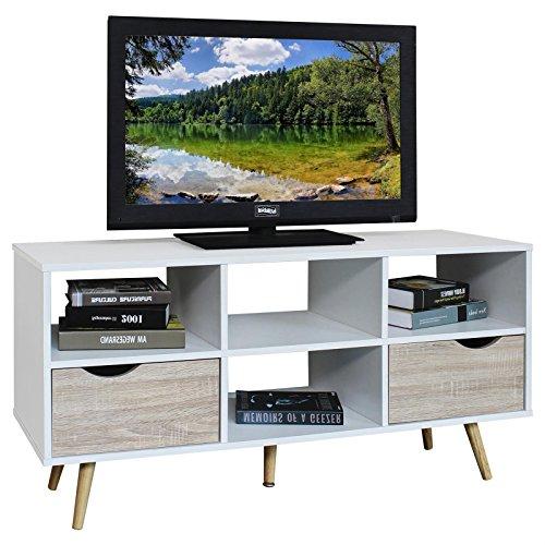 TV Lowboard NANTES TV Rack Hifi Möbe, 4 Fächer, 2 Schubladen weiß/Sonoma skandinavisch retro Stil