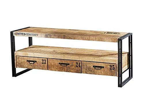 Design Vintage Industrial Loft Style TV Board New York | TV Rack Sideboard Hifi Möbel Retro | Fernsehtisch Metall Holz | Breite 150 cm x Tiefe 45 cm x Höhe 60 cm | EYE-CATCHER