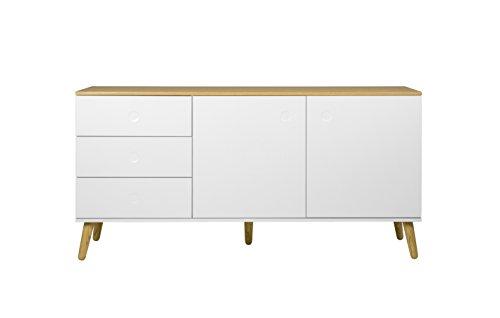 Tenzo 1675-454 Dot Designer Sideboard Holz, weiß / eiche, 43 x 162 x 79 cm