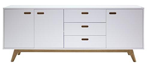 Tenzo 2176-001 Bess Designer Sideboard, lackiert, Matt, Untergestell massiv, 82 x 200 x 43 cm, weiß / eiche