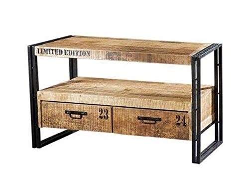 Vintage Industrie Loft Style TV Lowboard IOWA mit 2 Schubladen | TV Rack Board Sideboard Hifi Möbel Retro | Fernsehtisch Metall Holz | Breite 102 cm x Tiefe 45 cm x Höhe 60 cm | DESIGN neu Erleben