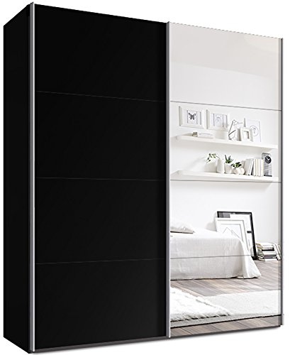 webesto schwebet renschrank kleiderschrank ca 180 cm schwarz mit spiegelt re qualit t aus. Black Bedroom Furniture Sets. Home Design Ideas