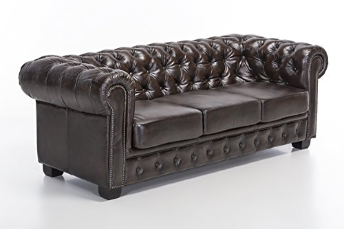 woodkings chesterfield sofa 3er braun vintage echtleder. Black Bedroom Furniture Sets. Home Design Ideas