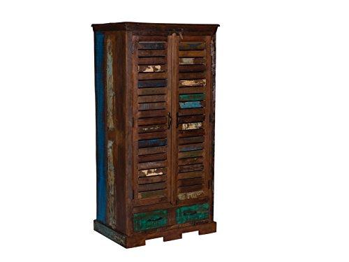 woodkings kleiderschrank wakefield 2t r recyceltes massivholz antik flurschrank vintage flur. Black Bedroom Furniture Sets. Home Design Ideas