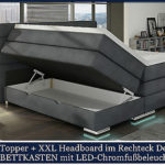 XXL Boxspringbett mit Bettkasten Boxspring Bett DESIGN GRAU STOFF 200x200!