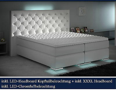 XXXL Boxspringbett Designer Boxspring WEISS LED 200x200 CHESTERFIELD