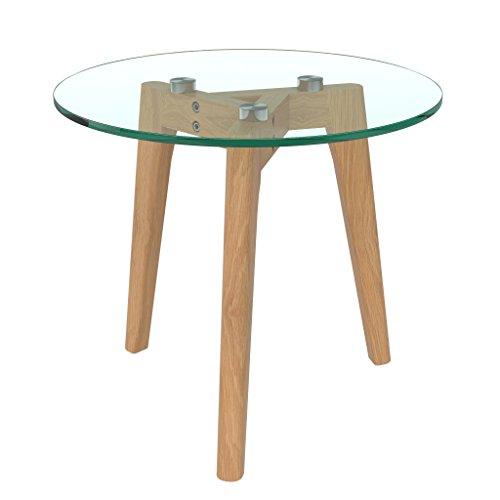bonVIVO® Design-Couchtisch Filippa, Beistelltisch Im Retro-Look Mit Glasplatte Und Massiv-Holz-Füssen Aus Eiche