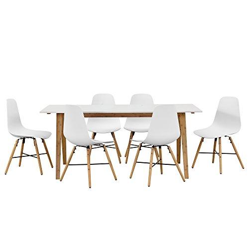 [en.casa]® Design Esstisch mit 6 Stühlen weiß / Bambus (180x80cm) Sitzgruppe