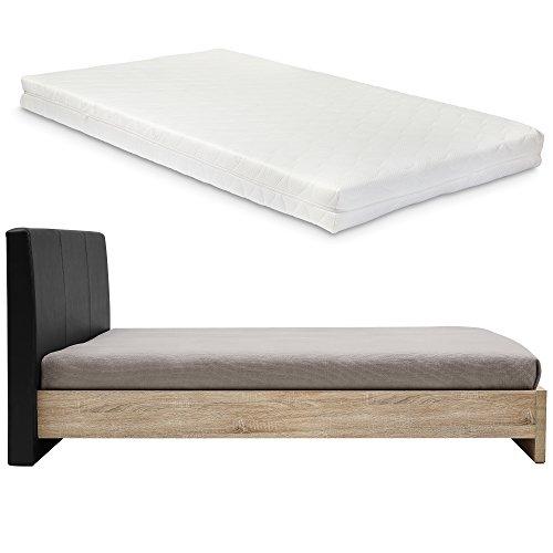encasa design polsterbett skandinavia mit matratze 140x200cmfurnier eiche natur polster schwarz. Black Bedroom Furniture Sets. Home Design Ideas