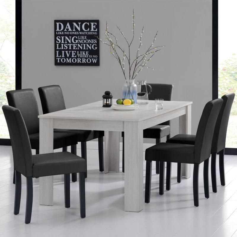 esstisch 160 90 eiche weiss 6 st hle schwarz esszimmer tisch neu retro stuhl. Black Bedroom Furniture Sets. Home Design Ideas