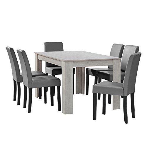 [en.casa] Esstisch Eiche weiß mit 6 Stühlen hellgrau Kunstleder gepolstert 140x90 Essgruppe Esszimmer