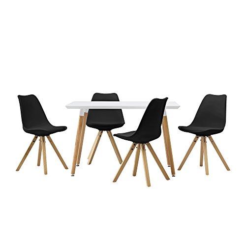 [en.casa] Esstisch mit 4 Stühlen schwarz gepolstert 120x80cm Kunstleder Esszimmer Essgruppe Küche