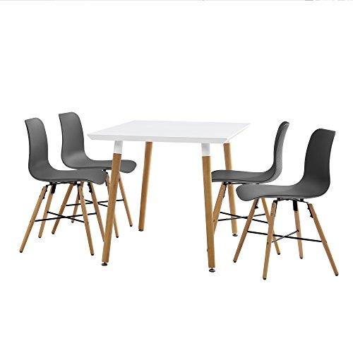 [en.casa]® Esstisch weiß 120 x 80 x 75cm + Stühle grau 80 x 44,5cm
