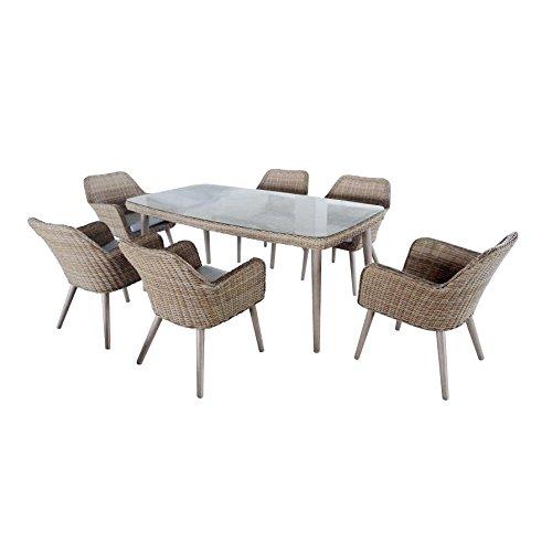 """greemotion Esstischgruppe """"Mallorca""""13-teilig, Essgruppen Set aus beigem Polyethylengeflecht, ideal für 6 Personen, inkl. Tisch und 6 Sesseln mit Sitzkissen, natürliches Polyrattan Set für Drinnen und Draußen, Glastischplatte aus ca. 5 mm  starken Sicherheitsglas, Aluminiumgestell mit einer halb-rundem Geflecht-Ummantelung, Sesselbeine in Holzoptik, Tisch ca. 180 x 100 x 75 cm, Stuhl ca. 63 x 61 x 81 cm"""