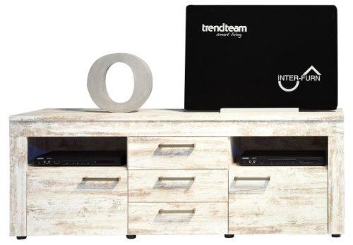 trendteam Wohnzimmer Lowboard Fernsehschrank Fernsehtisch River, 164 x 61 x 50 cm in Pine Weiß, Chabby Chic Retro Dekor mit viel Stauraum