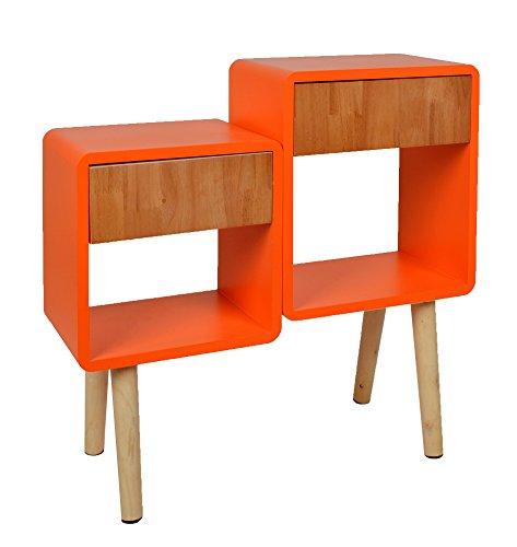 ts-ideen Regal Schrank Kommode im Cube Retro Design für Wohnzimmer Kinderzimmer Schlafzimmer Bad Nachttisch Standregal in Orange und Holz