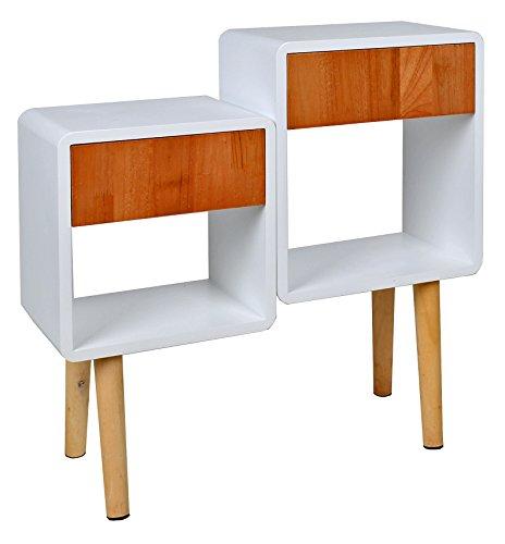 ts-ideen Regal Schrank Kommode im Cube Retro Design für Wohnzimmer Kinderzimmer Schlafzimmer Bad Nachttisch Standregal in Weiß und Holz