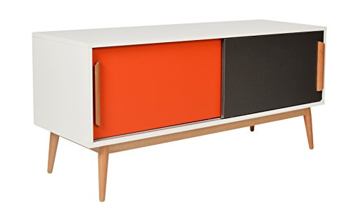ts ideen sideboard kommode lowboard ablage tv bank weiss orange grau 120 x 55 cm retro stuhl. Black Bedroom Furniture Sets. Home Design Ideas