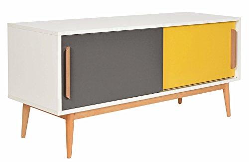 ts-ideen Sideboard Kommode Lowboard TV-Bank Weiss Gelb Dunkelgrau 120 x 55 cm