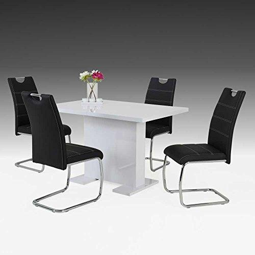 essgruppe mit s ulentisch wei hochglanz schwarz 5 teilig pharao24 retro stuhl. Black Bedroom Furniture Sets. Home Design Ideas