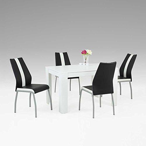 esstisch mit st hlen in wei schwarz modern 5 teilig. Black Bedroom Furniture Sets. Home Design Ideas