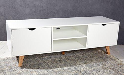 Sideboard Lowboard TV Konsole Kommode Fernsehschrank 150 x 45 x 50 cm mit 2 Ablagen inkl. Kabelführung und 2 Schubladen Holz weiß