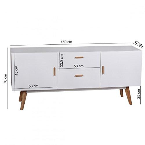 Design kommode retro holz wei 160 x 42 x 70 cm sideboard skandinavisch mit 2 t ren und 2 - Designer kommode aus holz naturliche gelandeformen ...