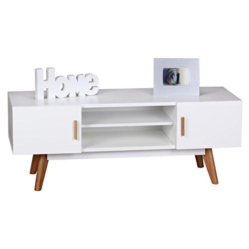 Wohnling Retro TV Lowboard SCANIO 120 cm MDF-Holz Landhaus 2 Türen und Fach, HiFi Regal 4 Füße, Fernseher Kommode Skandinavisch weiß