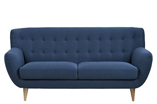 AC Design Furniture 60912 Sofa Jimmy 3-Sitzer, circa 185 x 87 x 84 cm, Stoff dunkelblau