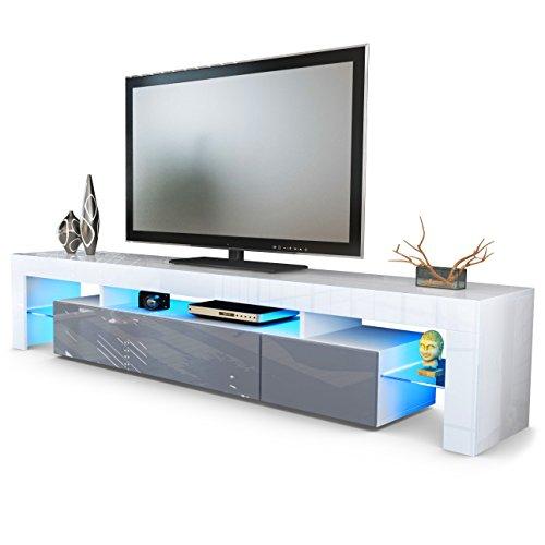 TV Board Lowboard Lima V2 in Weiß  Grau Hochglanz  RETRO  -> Tv Lowboard Lima
