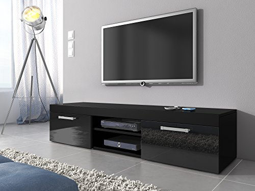 tv m bel lowboard schrank st nder mambo schwarz matt schwarz hochglanz 160 cm retro stuhl. Black Bedroom Furniture Sets. Home Design Ideas