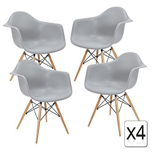 verkauf 4 x design stuhl eiffel stil natural wood beine und sitz farbe light grau mobistyl. Black Bedroom Furniture Sets. Home Design Ideas