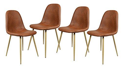 4 st ck st hle skandinavischen braun esszimmer st hle vintage k che aus pu leder braun retro stuhl. Black Bedroom Furniture Sets. Home Design Ideas