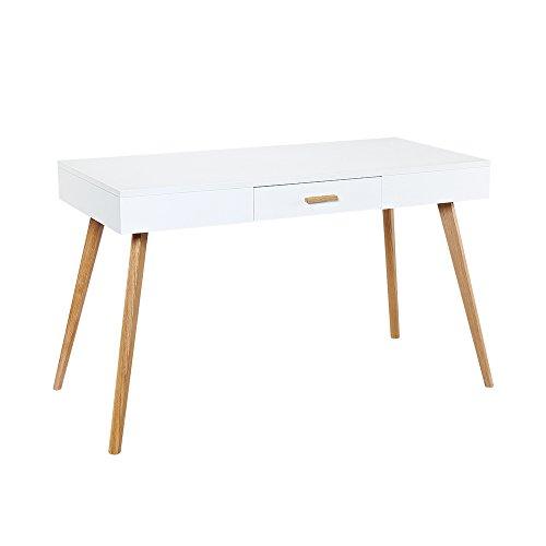 CAGUSTO Sekretär Liva weiß Beine Eiche massiv MDF weiss Design Retro Schreibtisch
