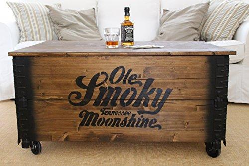 """Uncle Joe´s Couchtisch XL """"Whisky"""" Truhentisch Truhe im Vintage shabby chic Style aus Massiv-Holz in braun mit Stauraum und Deckel Holzkiste Beistelltisch Landhaus Wohnzimmertisch Holztisch nussbaum"""