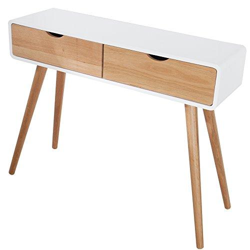 design retro konsole scandinavia wei eiche 100cm mit 2 schubladen konsolentisch tisch. Black Bedroom Furniture Sets. Home Design Ideas