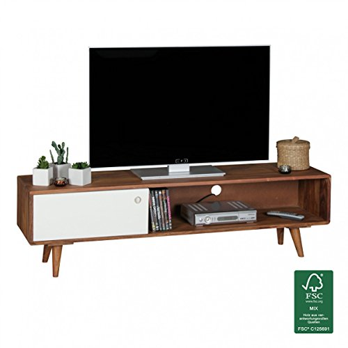 finebuy tv lowboard sheesham massivholz mit 1 t r 140 x 40 x 35 cm tv hifi regal im retro. Black Bedroom Furniture Sets. Home Design Ideas