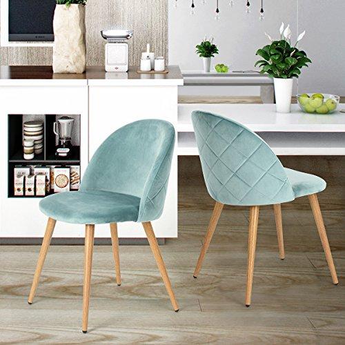 set von 2 esszimmer stuhl kaffee stuhl coavas samt kissen sitz und r cken k che st hle mit. Black Bedroom Furniture Sets. Home Design Ideas