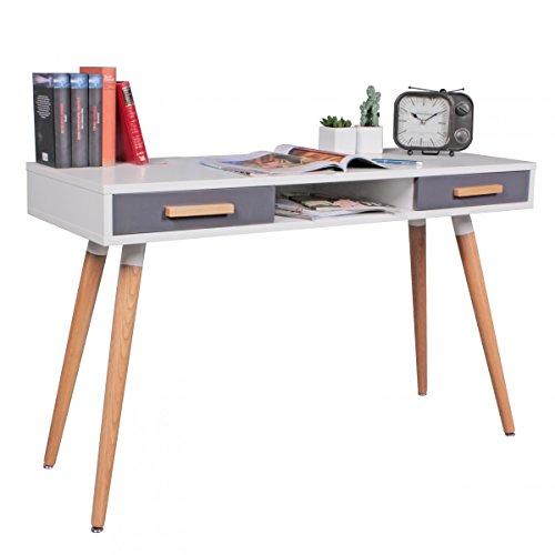 WOHNLING Schreibtisch MDF Retro Holztisch 120cm breit Schubladen weiß Büro-Tisch Design Skandinavisch Computertisch stylisch Schubladentisch norwegisch PC-Schreibtisch eckig Sekretär Bürotisch