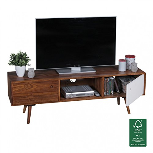 wohnling tv lowboard 140 cm massiv holz sheesham landhaus 2 t ren und fach braun wei retro. Black Bedroom Furniture Sets. Home Design Ideas