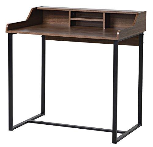 bonVIVO® Designer-Schreibtisch AUDREY, moderner Sekretär/Schminktisch im stilvollen Mix aus Holz in Mokka-Braun und eleganten Stahlkufen in schwarz