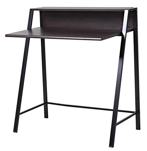 bonVIVO® Schreibtisch ROXANNE mit 2x USB-Port, moderner Sekretär im stilvollen Mix aus Holz in Dunkel-Braun und eleganten Stahl-Beinen in schwarz